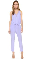 Mason By Michelle Mason Chiffon Panel Silk Jumpsuit Lilac