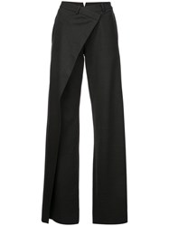 Monse Front Wrap Flared Trousers Grey