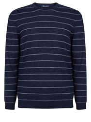 Aquascutum London Rolfe Stripe Crew Neck Knit Navy