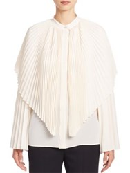 Stella Mccartney Plisse Silk Cape Blouse Natural