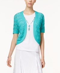 Alfred Dunner Layered Look Necklace Top Turquoise