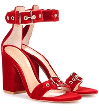 Gianvito Rossi Exclusive To Mytheresa.Com Hayes Velvet Sandals Red