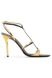 Emporio Armani Woman Metallic Patent Leather Sandals Gold