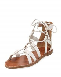 Tommy Bahama Melanna Leather Lace Up Flat Sandal White Pattern
