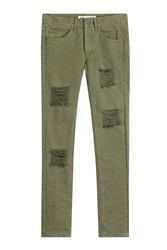 Off White Distressed Jeans Green