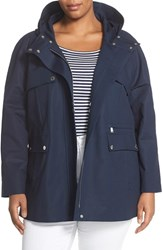 Plus Size Women's Pendleton 'Lake Shore' Hooded Raincoat Navy