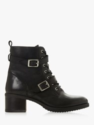 Dune Paxtone Buckle Lace Ankle Boots Black Leather