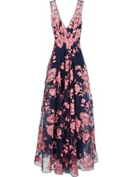 Marchesa Notte Embroidered Flower Gown Blue
