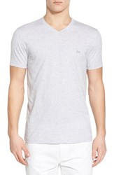 Men's Lacoste Stripe V Neck T Shirt Silver Chine White