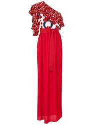 Isolda Abalone Maxi Dress Red