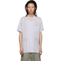 Comme Des Garcons Shirt White And Blue Cupro Striped Shirt