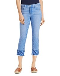 Ralph Lauren Embroidered Cropped Skinny Jeans In Blue