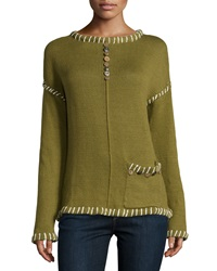 Pure Handknit Long Sleeve Embellished Pullover Green Cany