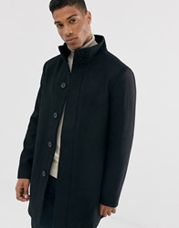 French Connection Wool Blend Funnel Neck Coat Black