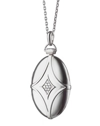 Silver And White Sapphire Petite Bridal Locket Necklace 32' Monica Rich Kosann