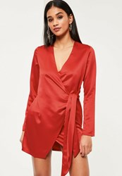 Missguided Red Silky Wrap Tie Waist Shirt Dress