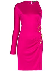 Versace One Shoulder Safety Pin Dress Pink