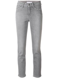 Cambio Pearl Embellished Jeans Grey