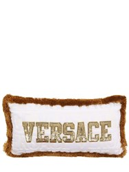 Versace Logomania Fringed Pillow White