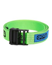 Off White Industrial Web Logo Belt Green