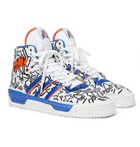 Adidas Originals Keith Haring Rivalry Embroidered Leather High Top Sneakers White