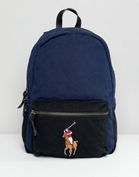 Polo Ralph Lauren Large Multi Player Logo Embroidery Canvas Backpack In Navy Black Navy Black