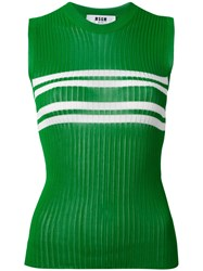 Msgm Striped Detail Ribbed Tank Women Viscose M Green