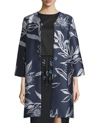 Suno Floral Jacquard Topper Jacket Navy Women's