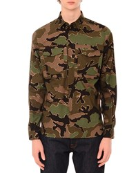 Red Valentino Camo Print Long Sleeve Military Shirt Green Multi Men's