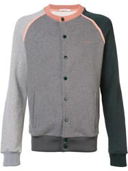 Carven Colour Block Bomber Jacket Grey