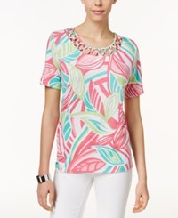 Alfred Dunner Leaf Print Lattice Detail Top Multi