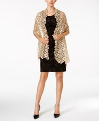 Betsey Johnson Blue Label Clover Sequined Evening Wrap Camel