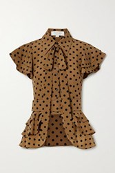Michael Kors Collection Pussy Bow Ruffled Polka Dot Silk Crepe Top Light Brown