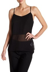 Laundry By Shelli Segal V Neck Sleeveless Stripe Woven Cami Black