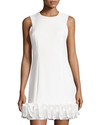 Maia Sleeveless Ruffle Hem Scuba Sheath Dress Ivory