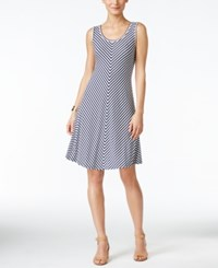 Styleandco. Style And Co. Chevron Striped A Line Dress Only At Macy's Quarter Stripe Indigo