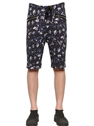 Markus Lupfer Floral Printed Cotton Jogging Shorts Blue