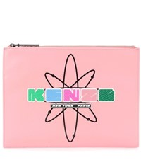 Kenzo Embellished Leather Clutch Pink