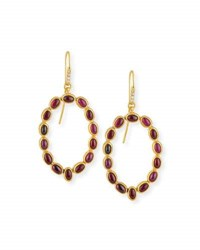 Gurhan Amulet Hue Ruby Cabochon Drop Earrings With Diamonds