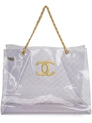 Chanel Vintage Quilted Cc Tote White