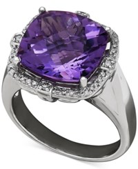 Macy's Amethyst 6 Ct. T.W. And Diamond 1 5 Ct. T.W. Ring In Sterling Silver