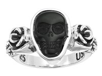 King Baby Studio Obsidian Skull And Rose Ring Silver