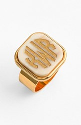 Women's Moon And Lola 'Vineyard' Personalized Monogram Ring Blonde Tortoise