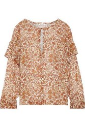 Masscob Woman Tilda Ruffle Trimmed Printed Cotton And Silk Blend Gauze Blouse Camel