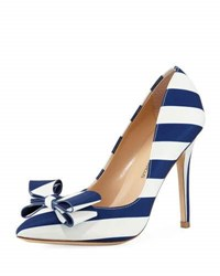 Neiman Marcus Abingdon Striped Bow Pump Blue