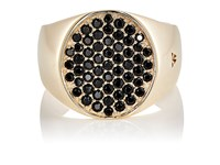 Tom Wood Women's Pinky Oval Black Spinel Ring Gold