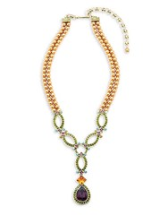 Heidi Daus Daytime Chic Faux Pearl Crystal And Rhinestone Necklace Gold