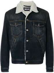 Just Cavalli Shearling Graphic Jacket Blue