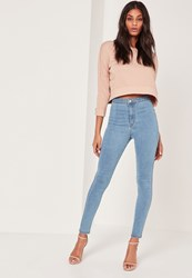 Missguided Highwaisted Skinny Jeans Blue Blue