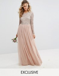 Maya Long Sleeved Maxi Dress With Delicate Sequin And Tulle Skirt Mink Brown